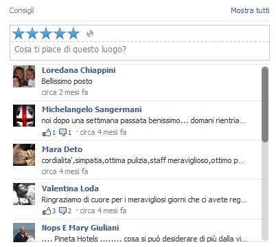 pinetahotels-recensioni-facebook