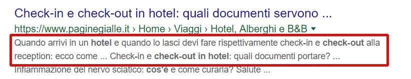 Esempio di risposta a una query nella description di uno snippet di un sito su Google