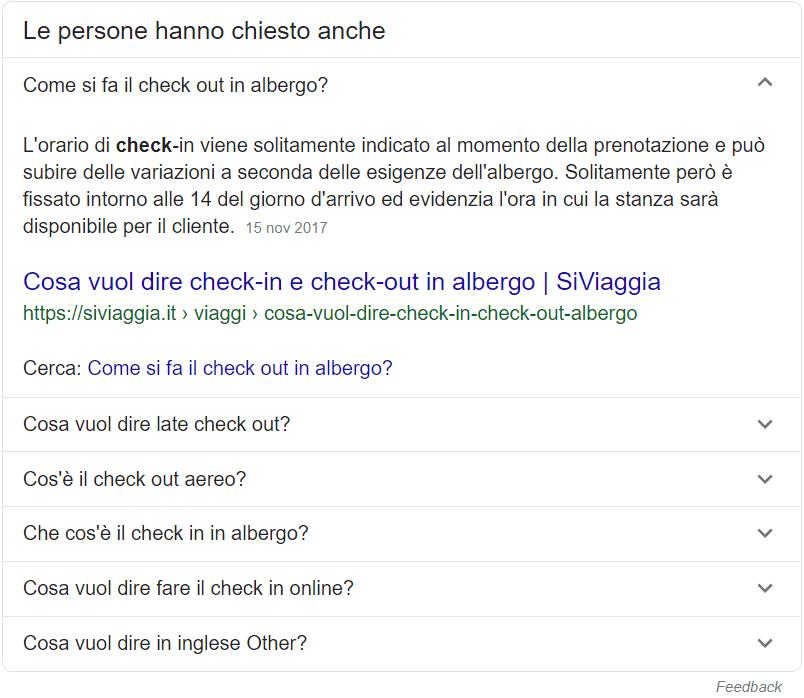 """Esempio del box """"Le persone hanno chiesto anche"""" su Google"""