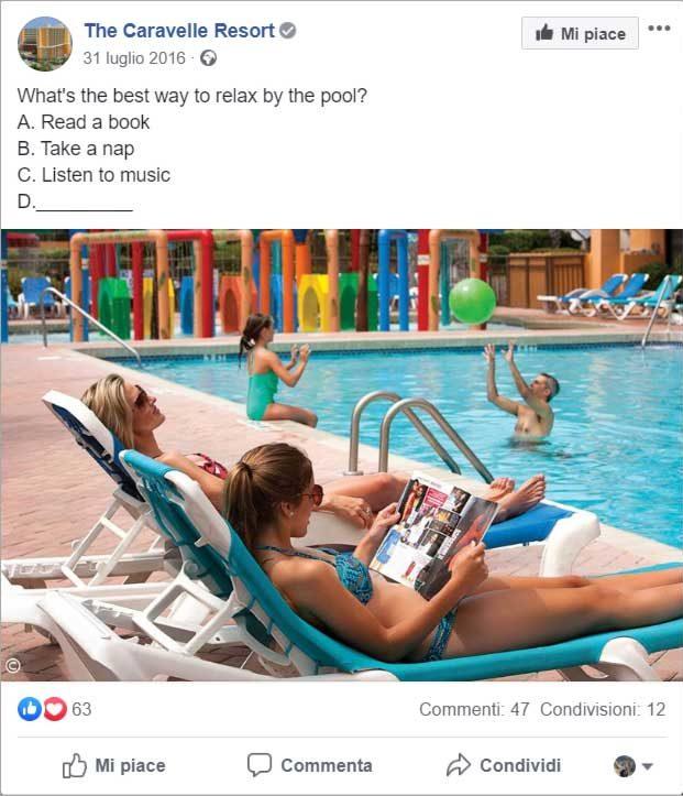 Post di Facebook scritto per attirare i commenti