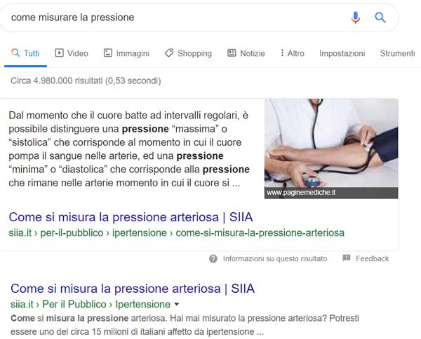 Esempio di featured snippet in Google