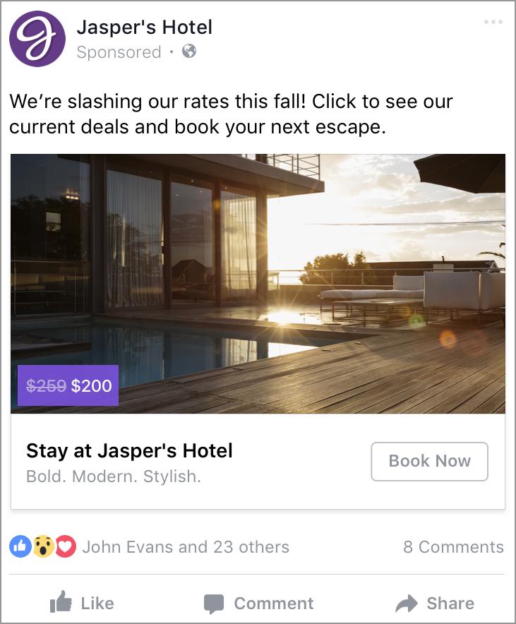 Esempio di inserzione dinamica per hotel su Facebook