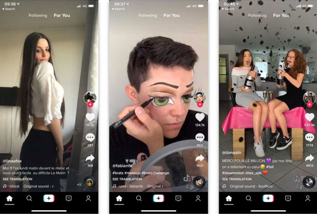 Interfaccia dell'app TikTok