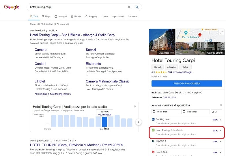 google hotel ads hotel touring carpi